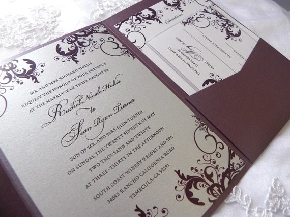 Silver And Purple Wedding Invitations: Plum Purple Silver & White Pocketfold Filigree By Citlali