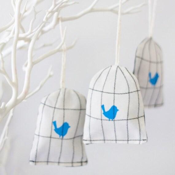 Blue Bird cage decorations