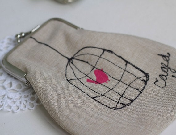 Bird cage embroidered purse