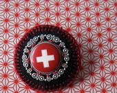 Textile jewelry - the Swiss Brooch in red with a white cross - Limited Edition - Design 1