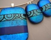 Dichroic Pendant and Earrings Set