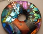 Dichroic Donut Fused Glass Pendant