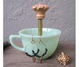 green milk glass vintage tea cup ring holder