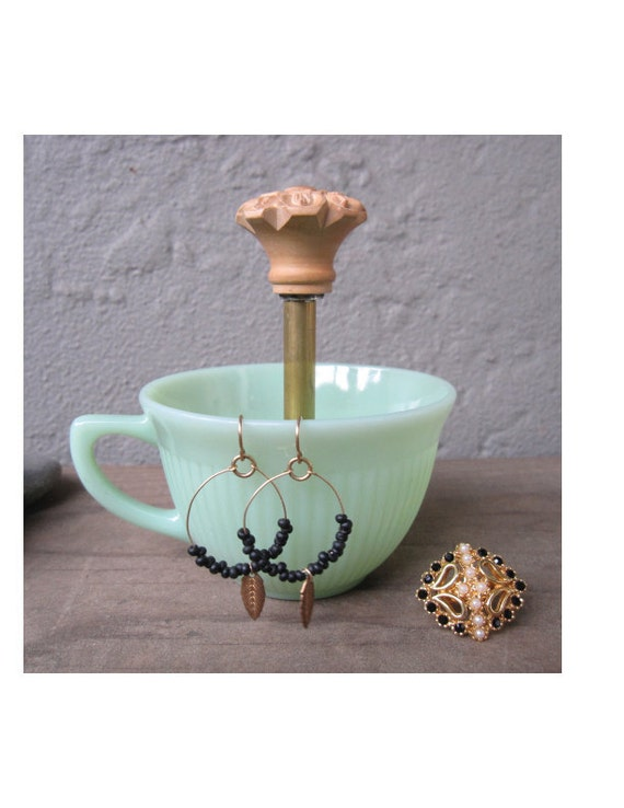 green milk glass vintage tea cup ring holder
