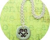 Swirley Heart-Fine Silver Necklace