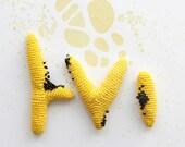 Crochet sculpture - yellow twigs