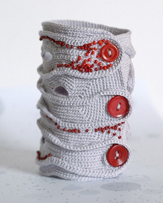 Lavender freeform cuff with red beads