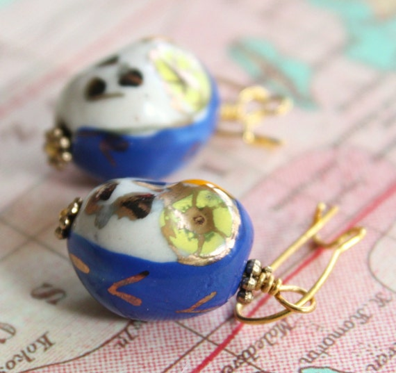 Sweet little Blue Porcelain Owl Earrings