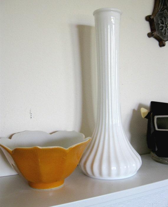 Mid Century Modern Hoosier Milk Glass Vase