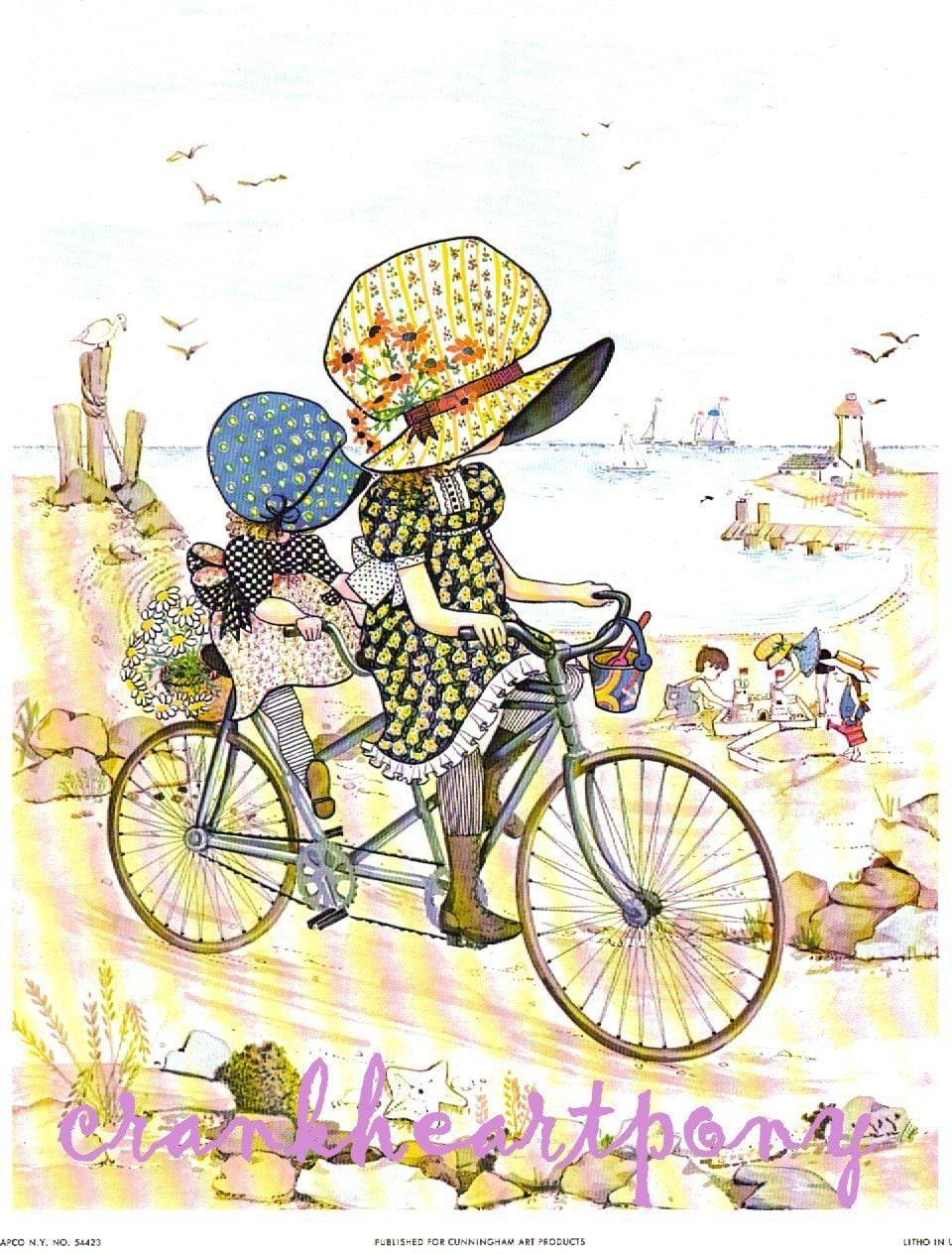 Holly Hobby Tandem Bike Ride Vintage Print