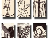 sweet vintage childrens book illustrations...black and white ......1 x 2 inch digital collage sheet no. 534