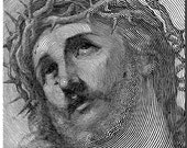 Holy Jesus, a 19th c. pen and ink drawing of Jesus, vintage printable digital download no.614.