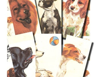 vintage dogs, a 1 x 2 inch domino art digital collage sheet no. 89