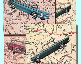 vintage American cars on maps, 3.5 by 3.5 inches, for coasters, scrapbooking, a digital download collage sheet no. 437