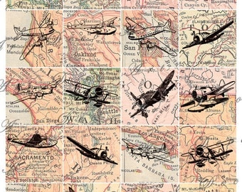 Old Airplanes Etsy - Vintage aviation maps
