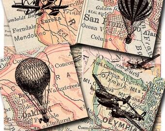 airplanes and hot air balloons, a printable digital download, collage sheet no. 179