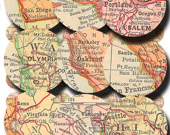 vintage map circles of the Pacific Coast,  California, Oregon Washington  1 inch and 18 mm Digital Sheet 185