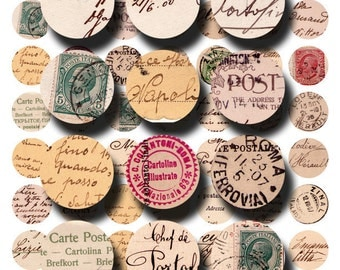 European postcards in 1 inch circles for bottlecap jewelry and more, a digital collage sheet no. 420