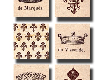 Royal French Crowns and Fleur de Lis, a 1.5 inch square vintage printable digital collage sheet no. 550