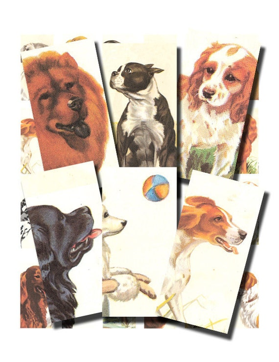 vintage dogs, a 1 x 2 inch domino tile digital collage sheet no. 89