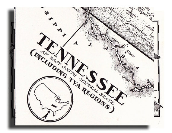 old map of Tennessee from the 1950's, a vintage printable digital map, no.  590.