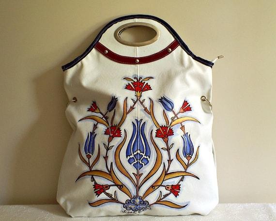 Iznik Tiles -  hand painted white handbag  - Get Handpainted Clutch for FREE