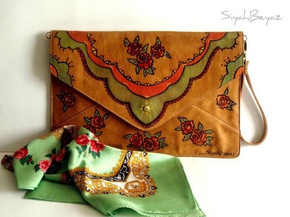 Ipad bag, envelope bag, camel color, faux leather, handpainted, VINTAGE STYLE ROSES