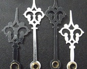Fancy GOTHIC Black Scrollwork Clock Hands, Vintage Style, 4 Pairs.