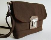 Compact Utility bag, cross body or belt, chocolate