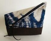 SALE Foldover Springtime Clutch /zipper pouch in indigo tie-dye, Last one