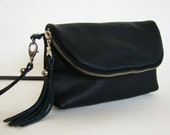 Ink Black Pebbled Leather 3-in-1 cross body bag, clutch, or large wallet, made to order