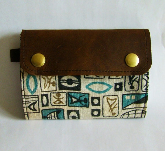 SALE // Totem print canvas and leather accordion wallet, ready to ship