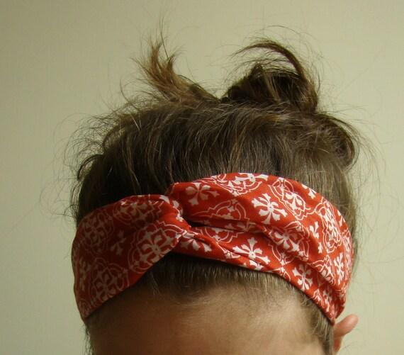 Turban Headband in red diamond batik, ready to ship