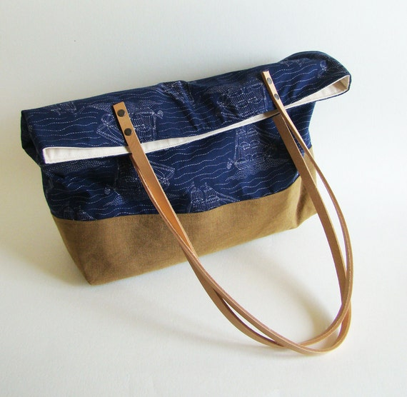 FINAL SALE 50% off // Sailboat Tote with natural leather straps