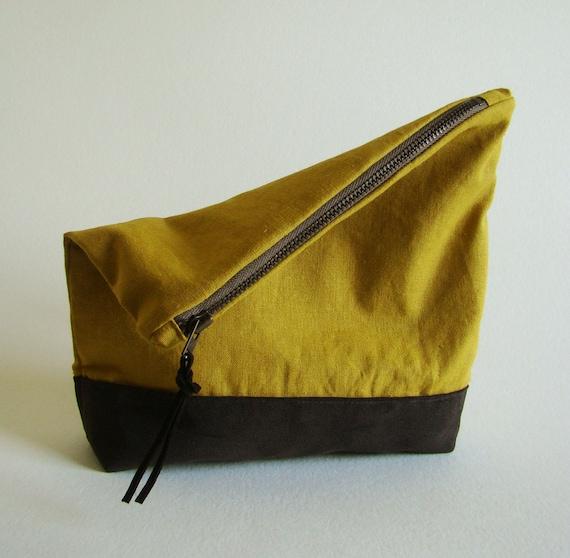 SALE Foldover Springtime Clutch /zipper pouch in yellow ocher