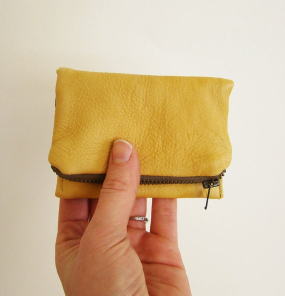 Leather Forester card wallet, marigold yellow, made to order