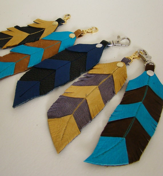 Leather Feather, royal blue and ink black feather keychain/ bag charm
