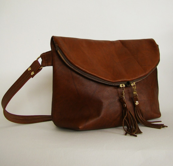 Foldover Day Traveler Bag in distressed chestnut leather, slouchy cross body leather bag, ready to ship