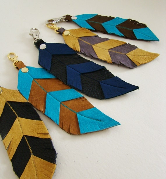 Leather Feather, copper brown and bright turquoise feather keychain/ bag charm, ready to ship