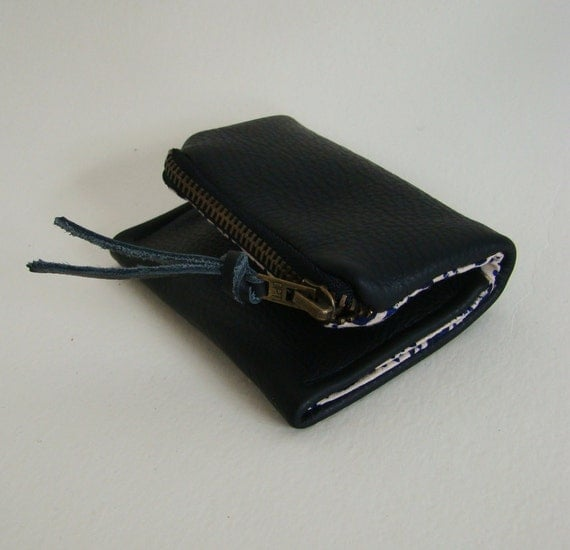 Ink Black Leather Forester card wallet, pocket size wallet with zipper change pocket, last one