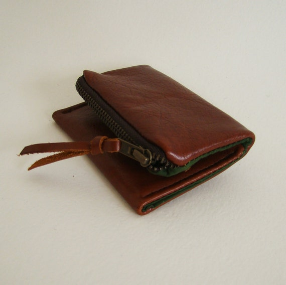 RESERVED Brown Leather Forester card wallet, brown pocket size wallet with zipper change pocket, made to order