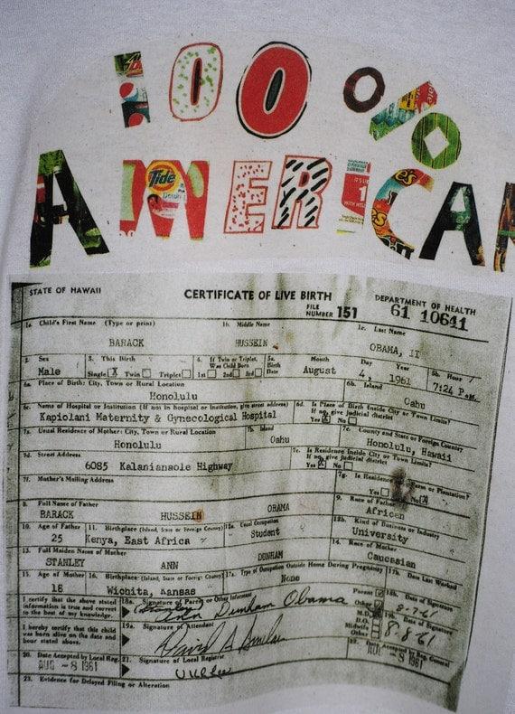 Obama Birth Certificate T Shirt S,M,L ,XL