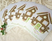 Happy holidays gingerbread house - set of 5 holiday postcards