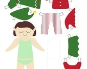 Printable elf paper doll PDF