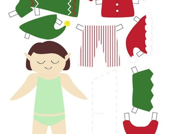 Printable elf paper doll PDF