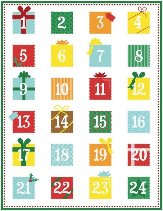 Printable advent calendar PDF by calobee on Etsy