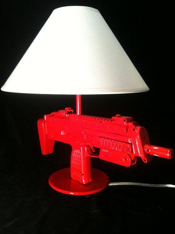 Gloss Red Gun Lamp  MP7 Machine Gun Lamp Light Table lamp  reading light Heckler & Koch