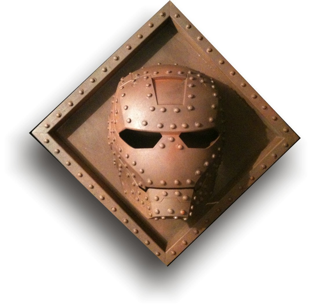 steampunk rusted iron man helmet sculpture wall art tony. Black Bedroom Furniture Sets. Home Design Ideas