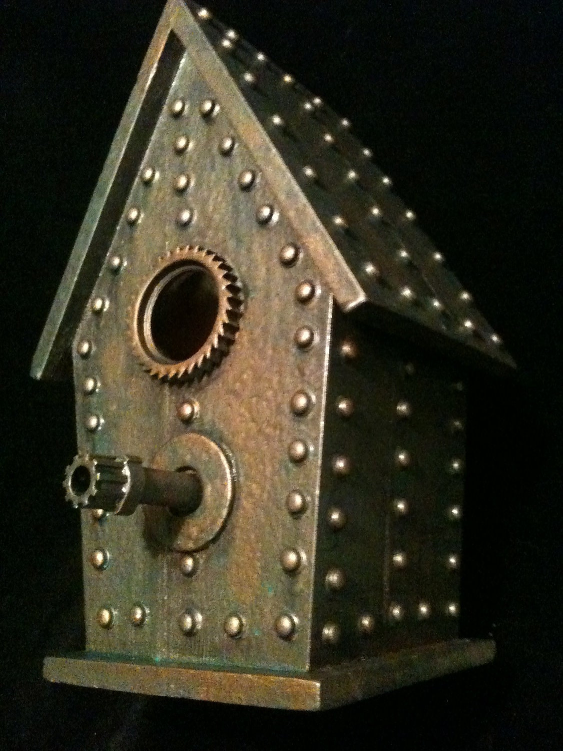 Industrial Steampunk Birdhouse Bronze copper Oddity Sculpture
