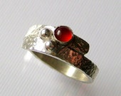 Sterling Silver Hammered Wrap Ring with Carnelian Size 7